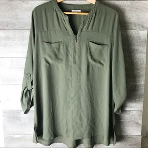 NWOT Maurices green v neck long sleeve blouse